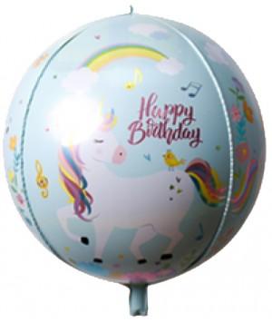 "22"" Printed Foil ORBZ 4D Balloons - Blue Unicorn (062)"