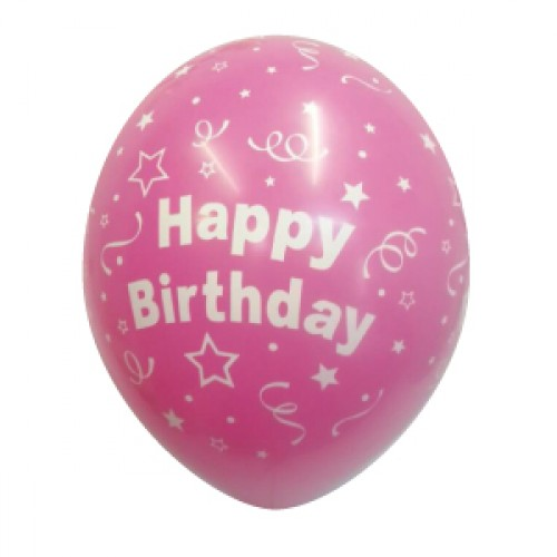 Fuchsia Round Happy Birthday Balloon Pack Of 25 Pcs